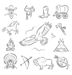 Western icons set vector