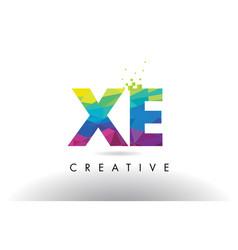 Xe x e colorful letter origami triangles design vector