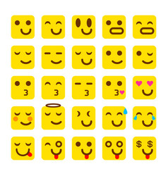 yellow set of smile icons emoji emoticons vector image