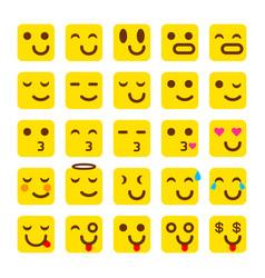 yellow set of smile icons emoji emoticons vector image