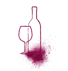 art bottle and glass with wine splash vector image