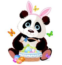 Cute Panda with Easter basket vector image