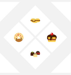 flat cake set of doughnut cake dessert and other vector image vector image