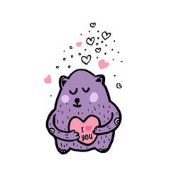 cute bear cartoon sketch vector image