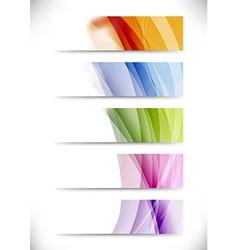 Modern swoosh wave bright cards set vector