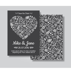 Rustic wedding invitation card set vector image