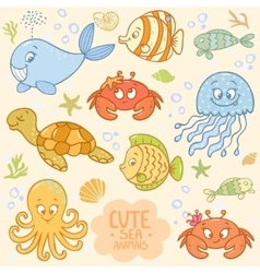 sea set animals vector image