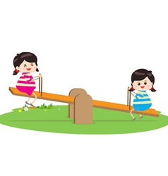 Two girl playing riding on seesaw vector image vector image