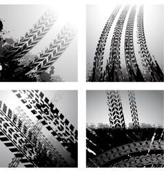 Dirty tire tracks background vector image vector image