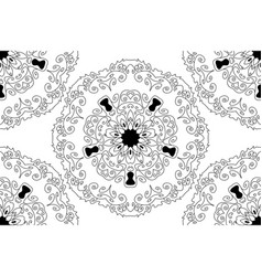 seamless round star lace ornamental pattern vector image