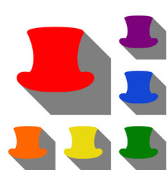 top hat sign set of red orange yellow green vector image