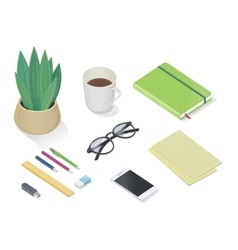 Top view of desk with personal accessories vector image