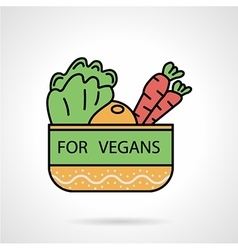 Vegetable bowl flat color icon vector image