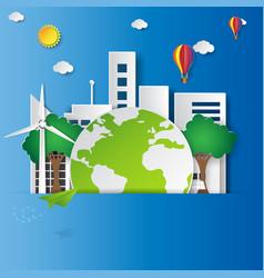 Green city with ecoligical concept vector