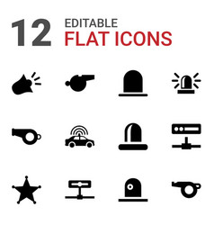 12 police icons vector