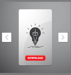 3d cube idea bulb printing box glyph icon in vector