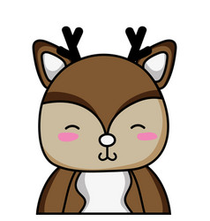 Adorable and shy deer wild animal vector