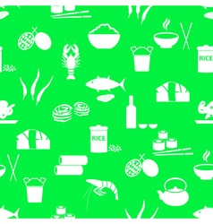 Asian food theme set of simple icons green vector