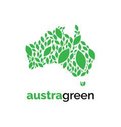 australia leaf logo design templategreen l vector image