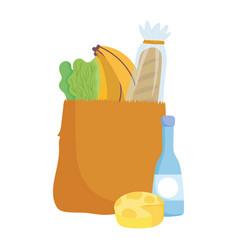 Bag cheese bottle bread banana and lettuce food vector
