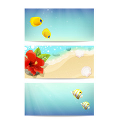 banners with sea beach coral fishes and hibiscus vector image