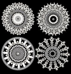 baroque floral round mandalas set antique vector image