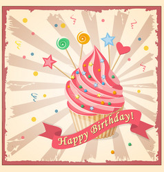 birthday card with cake hearts candy and ribbon vector image