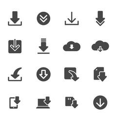 Black download icons set vector