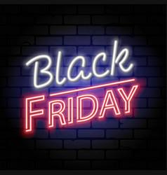 black friday sale neon signboard vector image