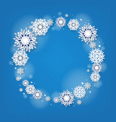 blue winter poster with snowflakes vector image