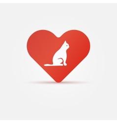 Bright cat in heart icon vector image