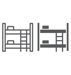 bunk bed line and glyph icon furniture and home vector image