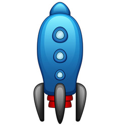 cartoon blue spaceship isolated on white backgroun vector image