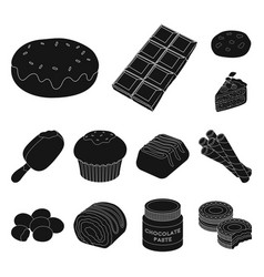 chocolate dessert black icons in set collection vector image