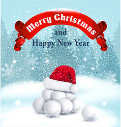 Christmas background with snowballs red ribbon vector