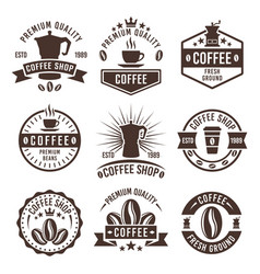 coffee shop vintage labels badges emblems vector image