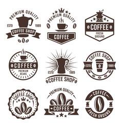 coffee shop vintage labels badges emblems vector image