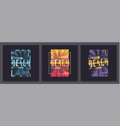 collection three graphic t-shirt designs vector image