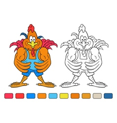 coloring book cartoon cock bodybuilder vector image