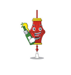 Cool chinese paper lanterns with beer mascot vector