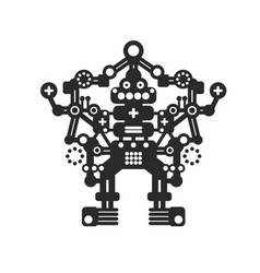 Creative robot print for t-shirt stickers or wall vector