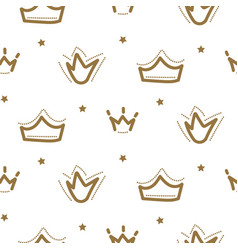 crown princess seamless pattern gold girl vector image