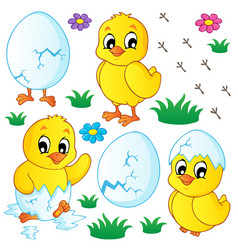 Cute chickens collection vector