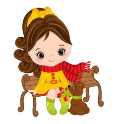 Cute little girl sitting on bench vector