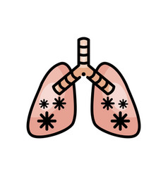 Diseased lungs with covid19 19 virus line color vector