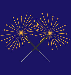 Double color sparkler on blue background sign 512 vector