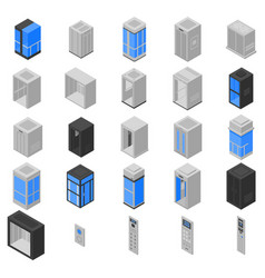 Elevator icons set isometric style vector