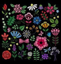 Embroidery elements flowers leaves dragonflies vector