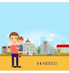 father and child in mexico vector image