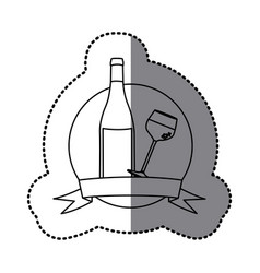 figure emblem wine bottle and glass with wine vector image